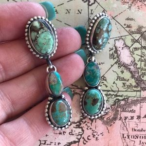 Navajo Sterling Royston Turquoise Dangle Earrings